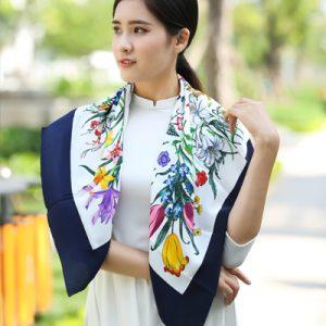 khăn lụa tơ tằm bảo lộc in họa tiết 3