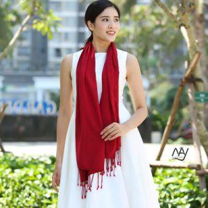 khăn lụa tơ tằm bảo lộc màu đỏ 3