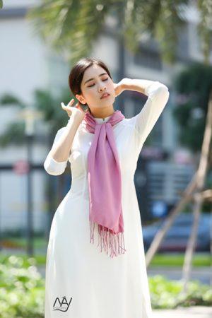Khăn lụa tơ tằm Bảo Lộc màu hồng 2