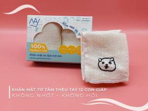 khăn mặt tơ tằm thêu tay hình con chó