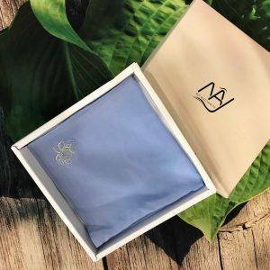 khăn thêu tay hoa sen màu xanh ngọc