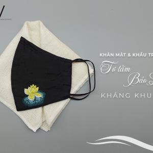 khăn mặt tơ tằm và khẩu trang thêu tay hoa sen