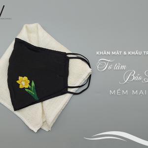 khăn mặt tơ tằm và khẩu trang thêu tay hoa thủy tiên