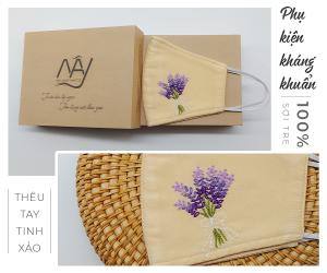 Khẩu trang thêu tay lavender Mây Handamde màu bé 1
