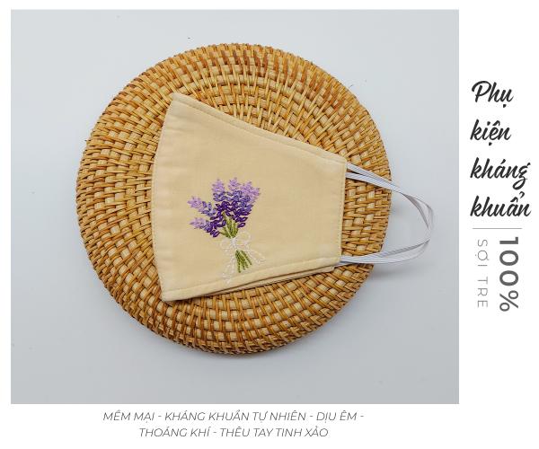 khẩu trang thêu tay lavender Mây Handmade màu be 2