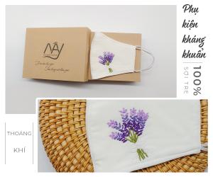 khẩu trang thêu tay lavender Mây Handamde màu trắng 1