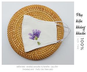 khẩu trang thêu tay lavender Mây Handmade màu trắng 2
