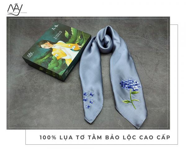 khăn lụa tơ tằm thêu tay cẩm tú cầu màu ghi 1