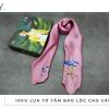 khăn lụa tơ tằm thêu tay cẩm tú cầu màu hồng 1