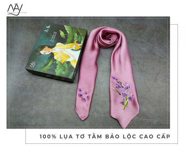 khăn lụa tơ tằm thêu tay lan tím màu hồng 1