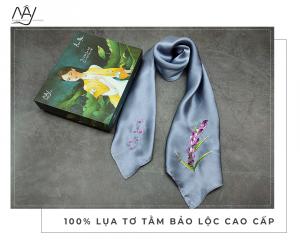 khăn lụa tơ tằm thêu tay lavender màu ghi 1