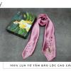 khăn lụa tơ tằm thêu tay lavender màu hồng 1