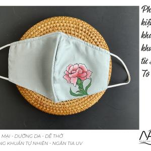 khẩu trang lụa vẽ tay hoa cẩm chướng màu ghi 1