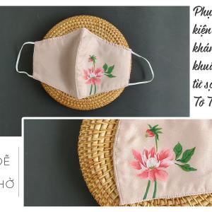 khẩu trang lụa vẽ tay hoa thược dược màu hồng 2