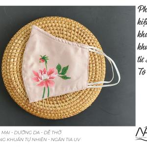 khẩu trang lụa vẽ tay hoa thược dược màu hồng 3