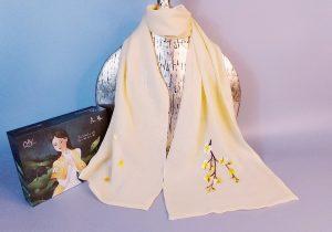 khăn lụa thêu tay hoa lan vàng 1