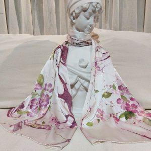khăn lụa tơ tằm vẽ tay hoa bằng lăng 2
