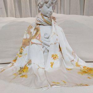 khăn lụa tơ tằm vẽ tay hoa hoàng yến 2