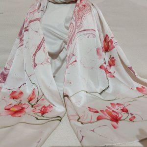 khăn lụa tơ tằm vẽ tay hoa mộc lan 3