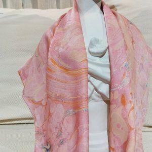 khăn lụa tơ tằm vẽ tay thủy ấn sóng biển hồng 1