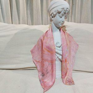 khăn lụa tơ tằm vẽ tay thủy ấn sóng biển hồng 3