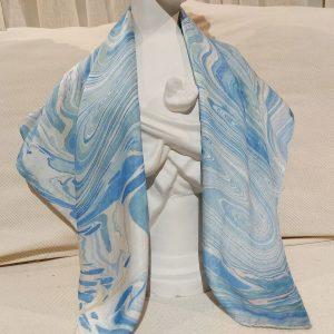 khăn lụa tơ tằm vẽ tay thủy ấn sóng biển xanh 1