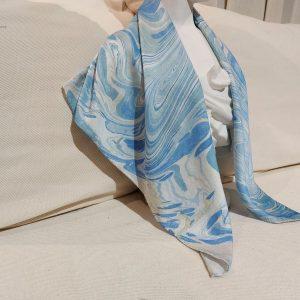 khăn lụa tơ tằm vẽ tay thủy ấn sóng biển xanh 2