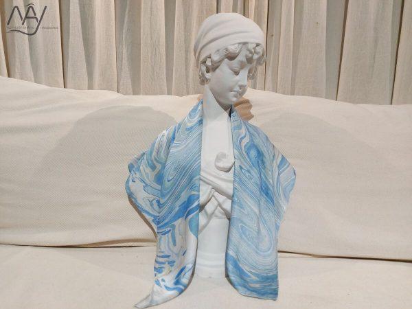 khăn lụa tơ tằm vẽ tay thủy ấn sóng biển xanh 3