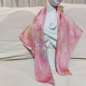 khăn lụa tơ tằm vẽ tay thủy ấn vân mây hồng 4