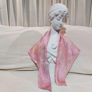 khăn lụa tơ tằm vẽ tay thủy ấn vân mây hồng 5