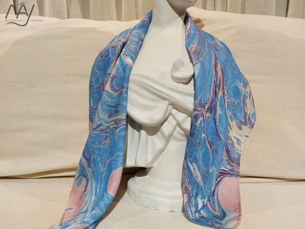 khăn lụa tơ tằm vẽ tay thủy ấn vân mây xanh 1
