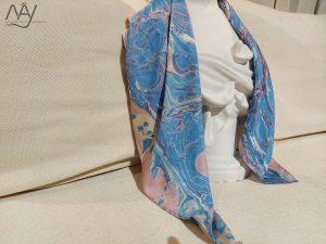 khăn lụa tơ tằm vẽ tay thủy ấn vân mây xanh 2
