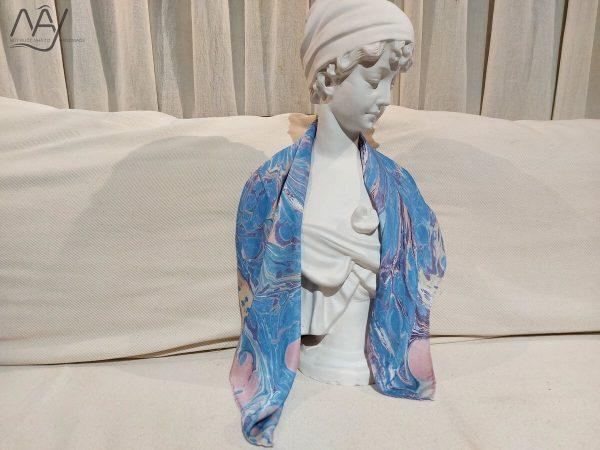 khăn lụa tơ tằm vẽ tay thủy ấn vân mây xanh 3
