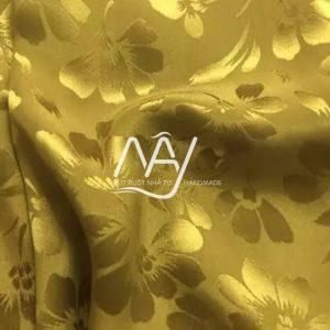 vải lụa tơ tằm bảo lộc màu vàng đậm